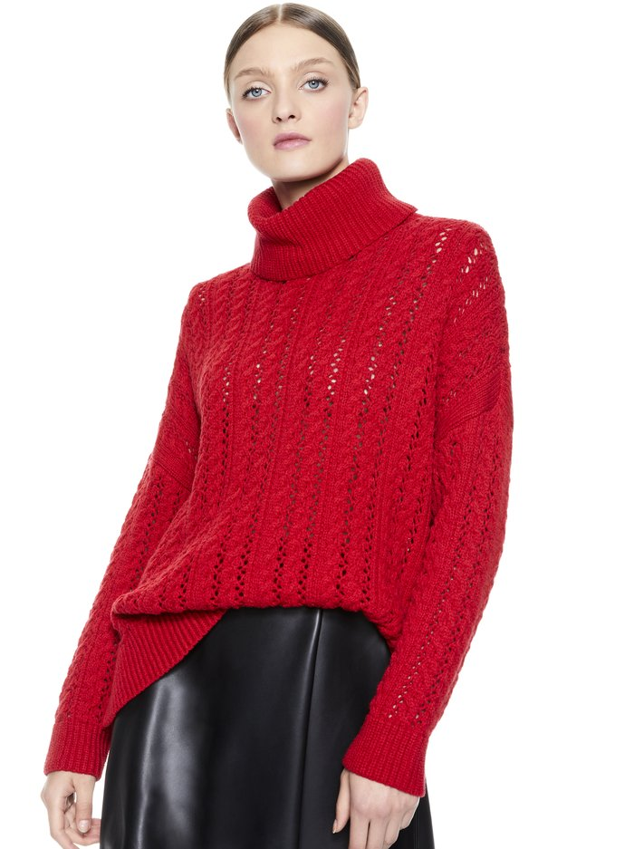 SAWYER TURTLENECK PULLOVER - RUBY - Alice And Olivia