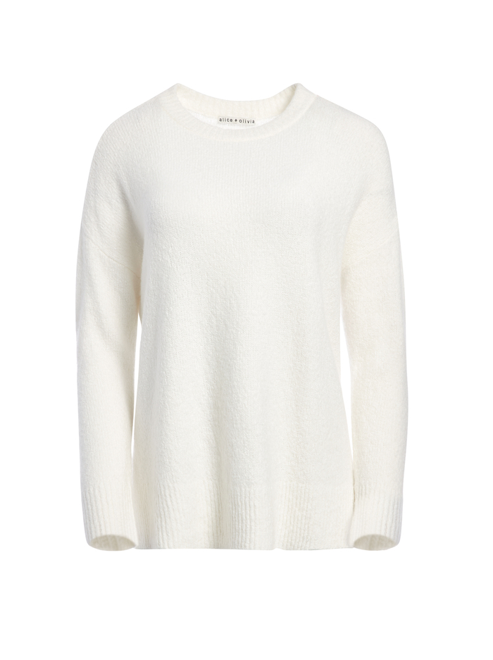 DENISE PULLOVER WITH SIDE SLITS - SOFT WHITE - Alice And Olivia