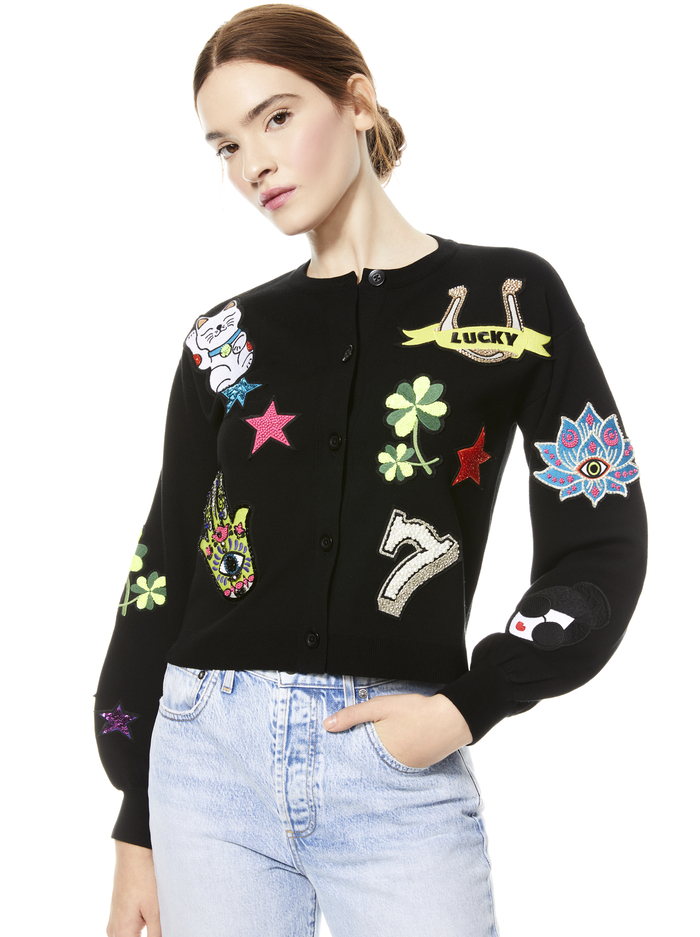 ZOLA PATCH EMBRIODERED CARDIGAN - BLK MULTI - Alice And Olivia