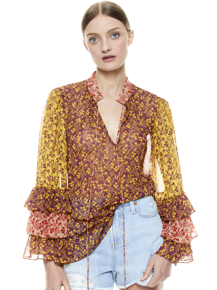 JUSTICE TIERED RUFFLE SLEEVE BLOUSE - ROME FLORAL - BOYSENBERRY/COMO - Alice And Olivia