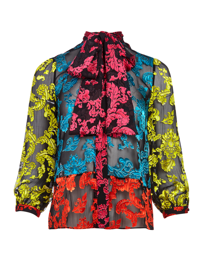 JEANNIE BOW COLLAR BUTTON DOWN - SHOW ME LOVE SM ATLANTIS/COMBO - Alice And Olivia