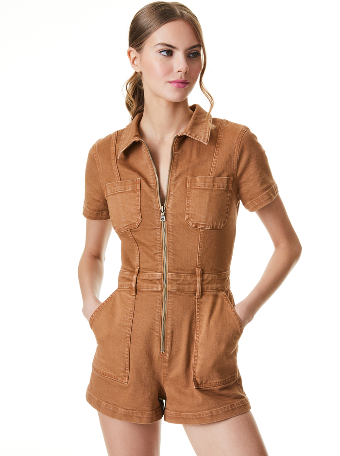 GORGEOUS ZIP FRONT ROMPER - CAMEL - Alice And Olivia