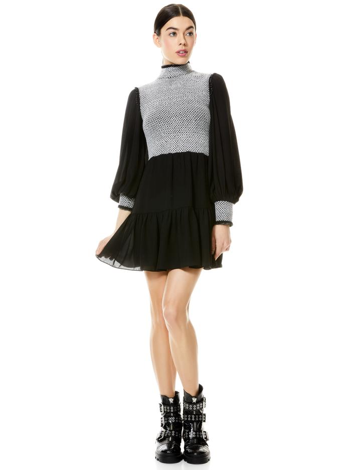 ELVIRA SMOCKED MOCK NECK MINI DRESS - BLACK/WHITE - Alice And Olivia