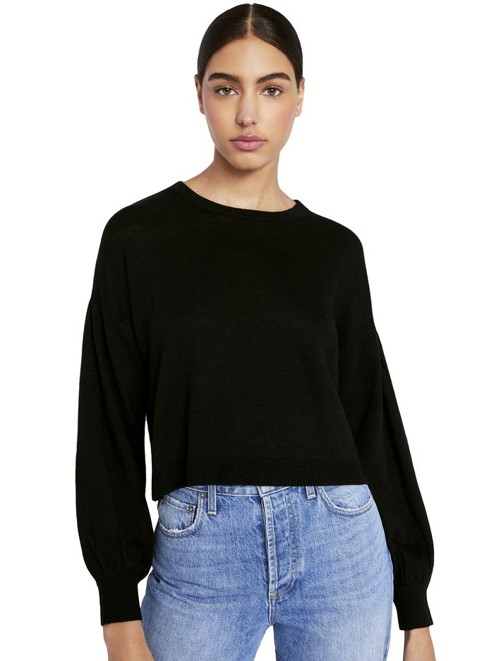 ANSLEY BLOUSON SLEEVE PULLOVER - BLACK - Alice And Olivia