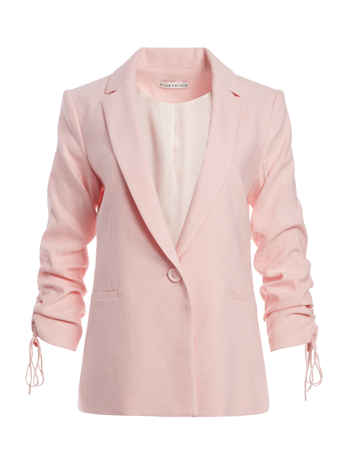 LESTER SCRUNCH SLEEVE BLAZER - ENGLISH ROSE - Alice And Olivia