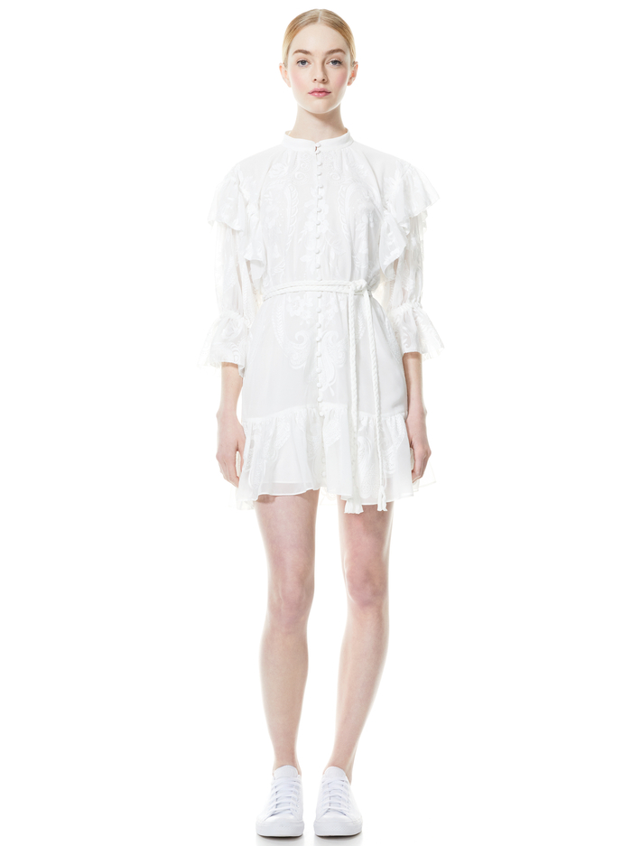 TEDDI BUTTON FRONT BELTED MINI DRESS - OFF WHITE - Alice And Olivia