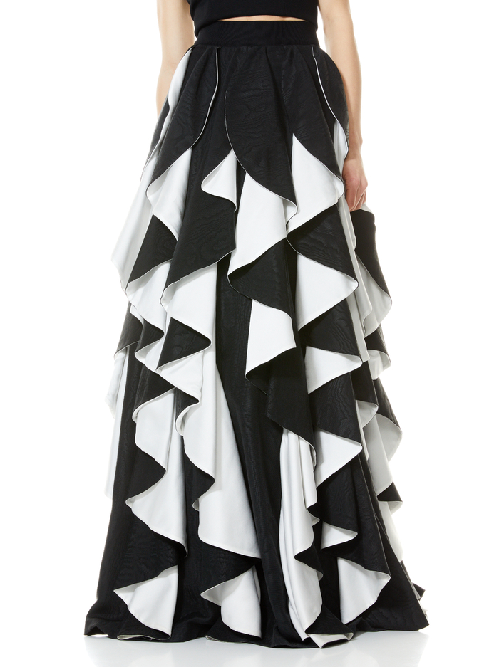 NADIE SPIRAL BALL GOWN SKIRT - BLACK/OFF WHITE - Alice And Olivia
