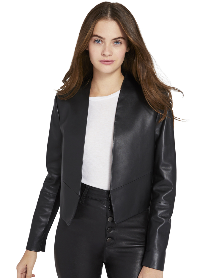 HARVEY OPEN FRONT LEATHER JACKET - BLACK - Alice And Olivia
