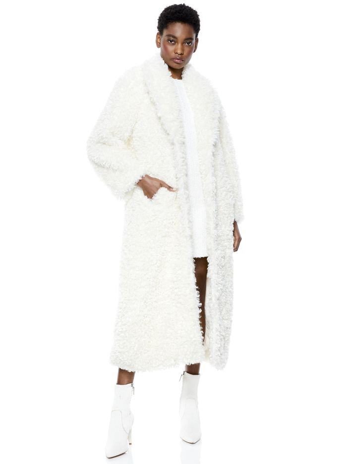 TEDDY NOTCH COLLAR COAT - OFF WHITE - Alice And Olivia