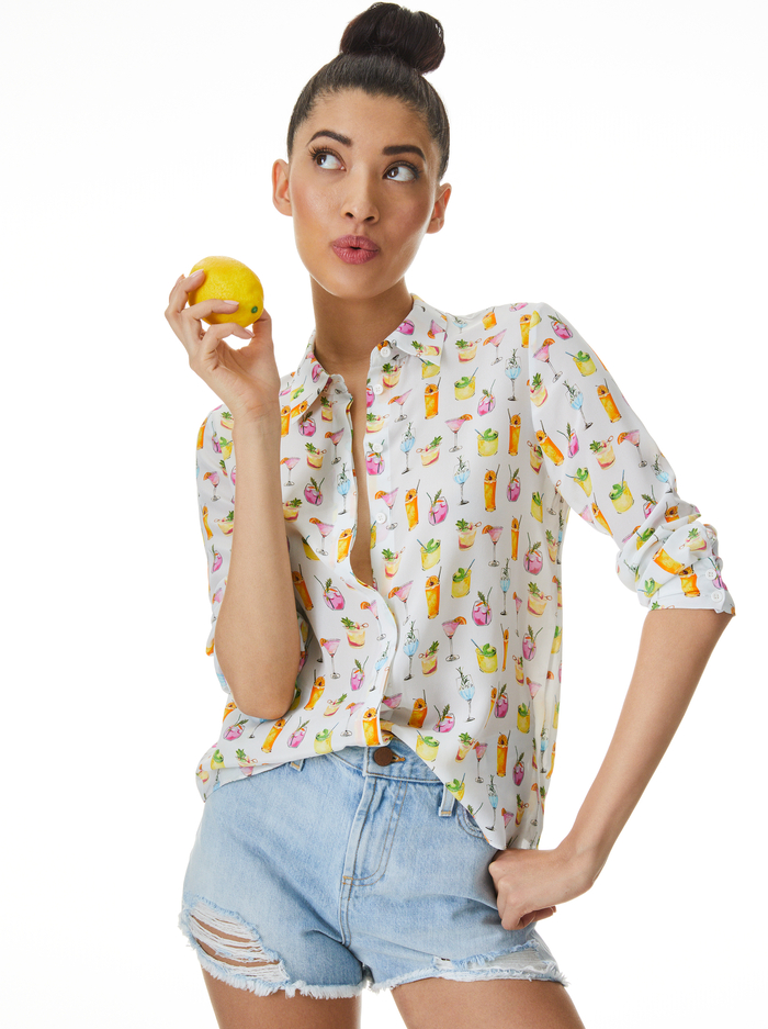 WILLA COCKTAIL PRINT PLACKET TOP - COCKTAILS - Alice And Olivia