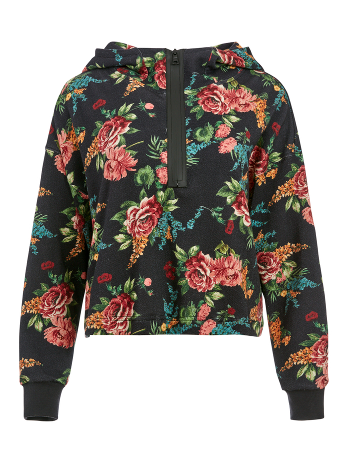 QUINLAN FLORAL CROPPED HOODIE - FLORAL EXPRESS SM BLACK - Alice And Olivia