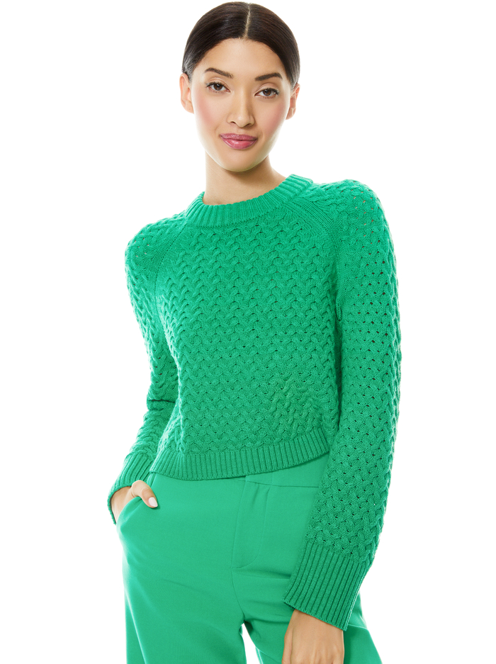 LETA CROPPED PULLOVER - MINT KELLY - Alice And Olivia