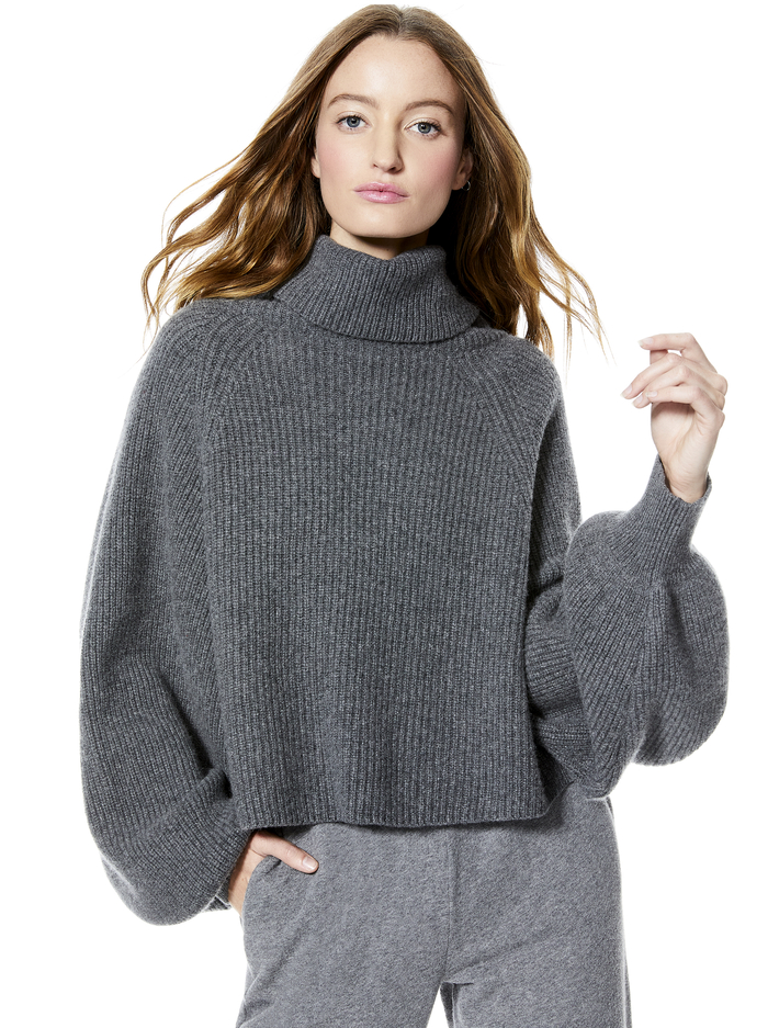 NORIKO TWO WAY ASYMMETRICAL PULLOVER - MED HEATHER GREY - Alice And Olivia