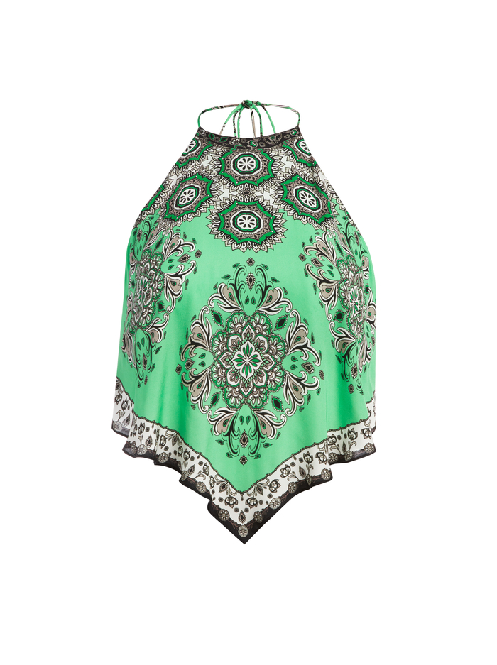 FRENCHIE HANDKERCHIEF HALTER TOP - BOHO ROMANCE-JADE MULTI - Alice And Olivia