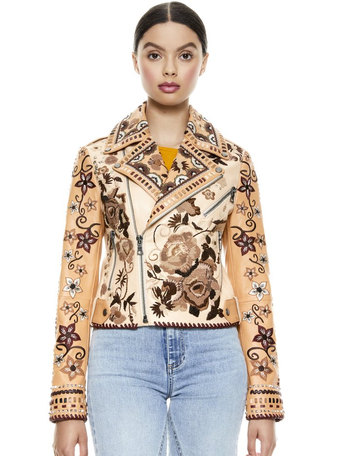 CODY EMBROIDERED LEATHER JACKET - MULTI - Alice And Olivia
