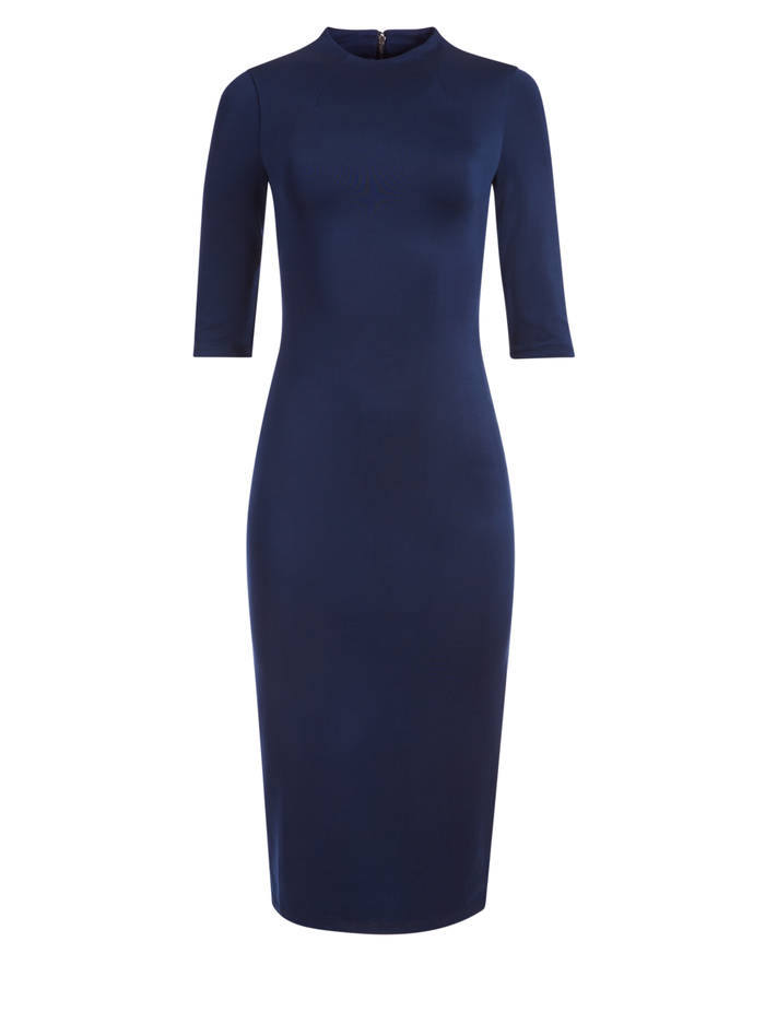 DELORA FITTED MOCK NECK MIDI DRESS - NAVY - Alice And Olivia
