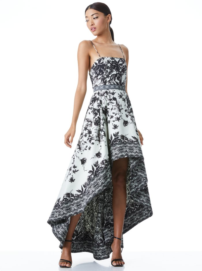 FLORENCE HIGH LOW GOWN - FORGET ME NOT BLK MULTI - Alice And Olivia