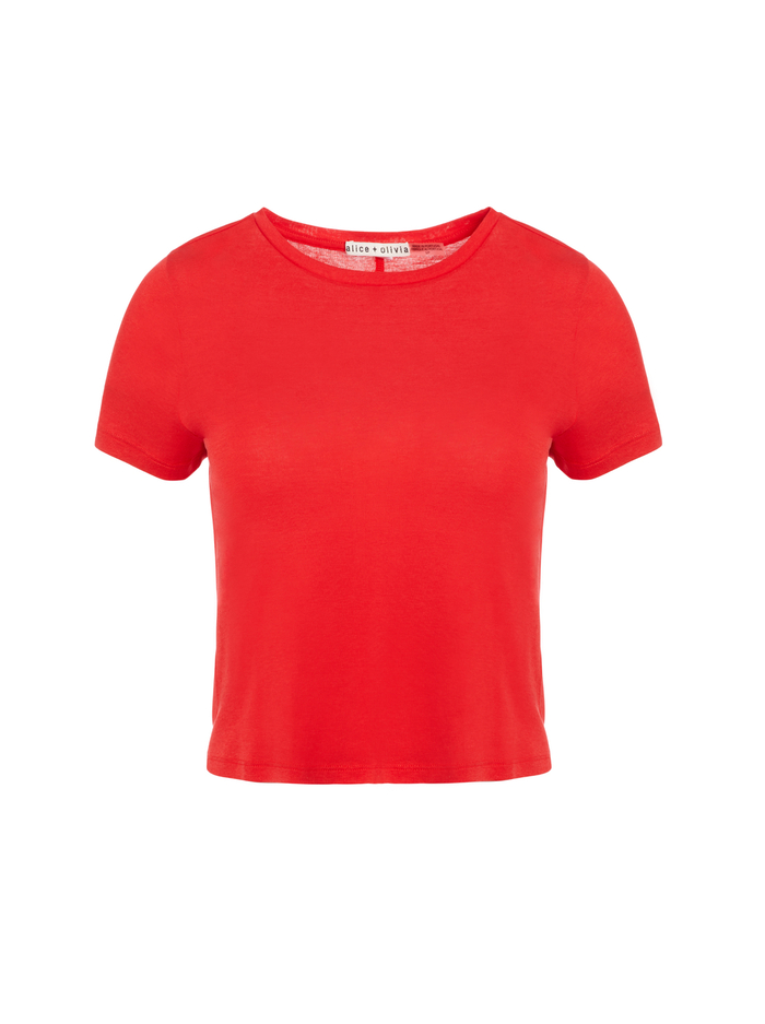 CINDY CLASSIC CROPPED TEE - PAPRIKA - Alice And Olivia