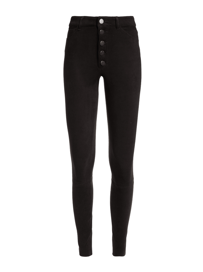 MIKAH SUEDE HIGH RISE PANT - BLACK - Alice And Olivia