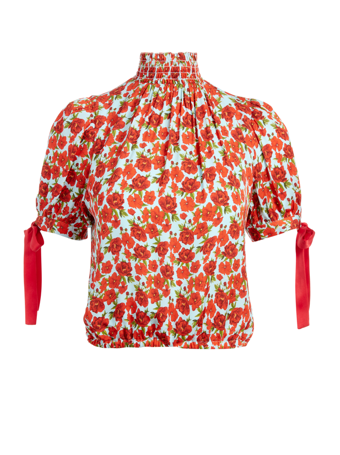 IRENE FLORAL MOCK NECK BLOUSE - FORGET ME NOT SM BRIGHT POPPY - Alice And Olivia