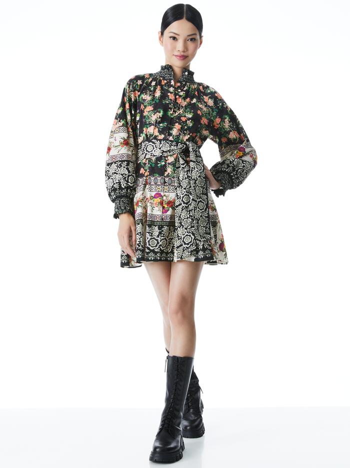JANIS FLORAL MOCK NECK MINI DRESS - DREAM CASTLE - Alice And Olivia