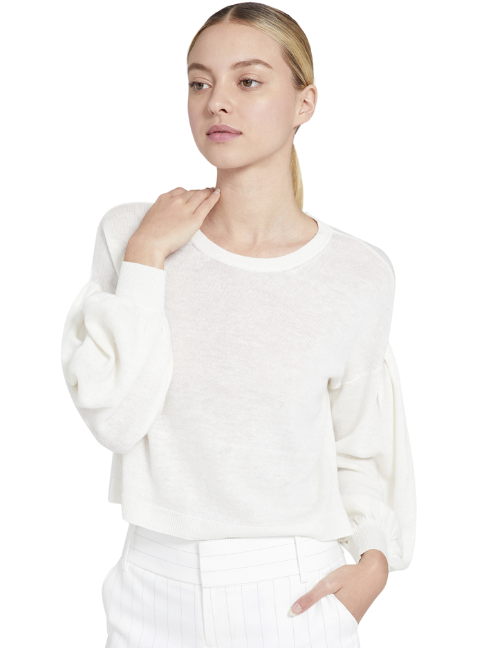 ANSLEY BLOUSON SLEEVE PULLOVER - SOFT WHITE - Alice And Olivia
