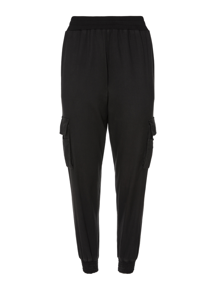 DEDE SMOCKED WAIST CARGO PANT - BLACK - Alice And Olivia
