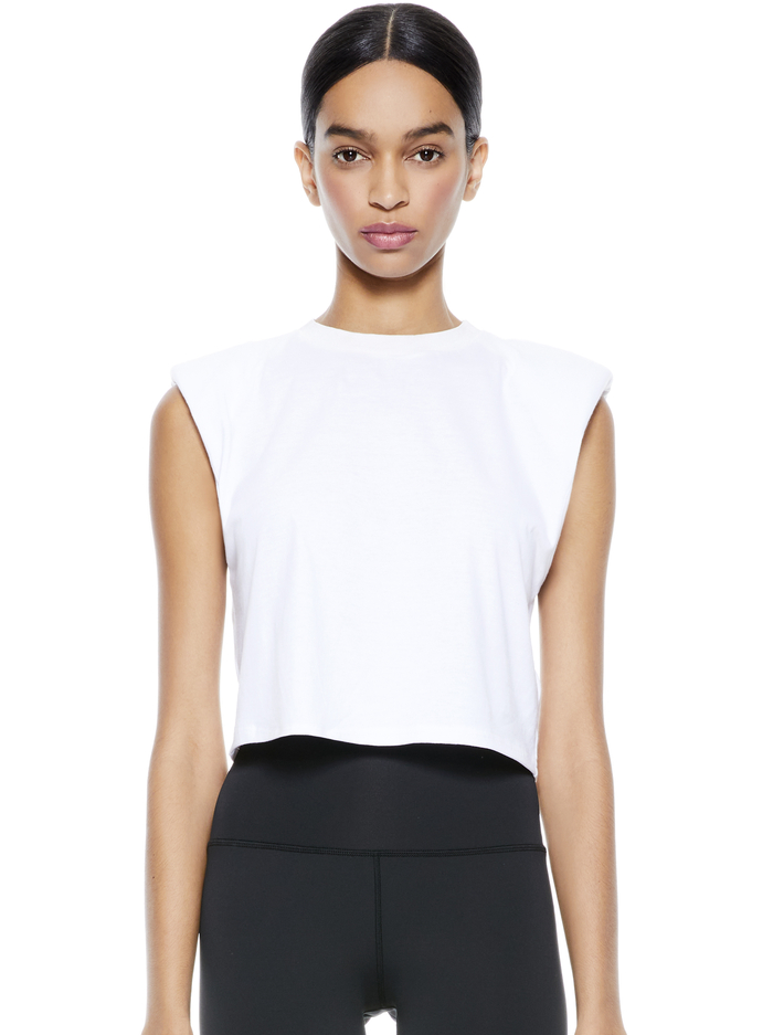 BRAXTON CROPPED TEE - WHITE - Alice And Olivia