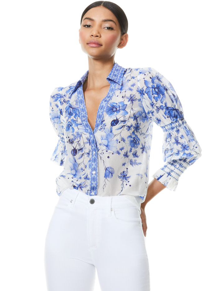 COSIMA FLORAL BUTTON FRONT BLOUSE - FORGET ME NOT MULTI - Alice And Olivia