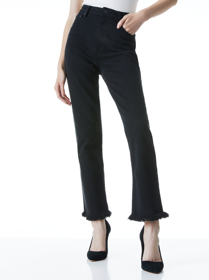 AMAZING HIGH RISE GIRLFRIEND JEAN - BLACK - Alice And Olivia