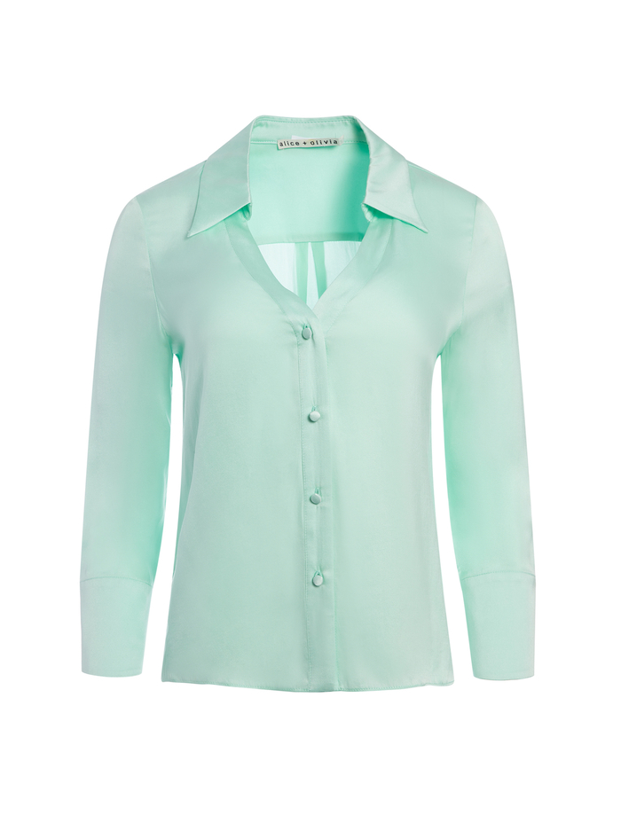 HOPE BUTTON DOWN BLOUSE - MINT - Alice And Olivia