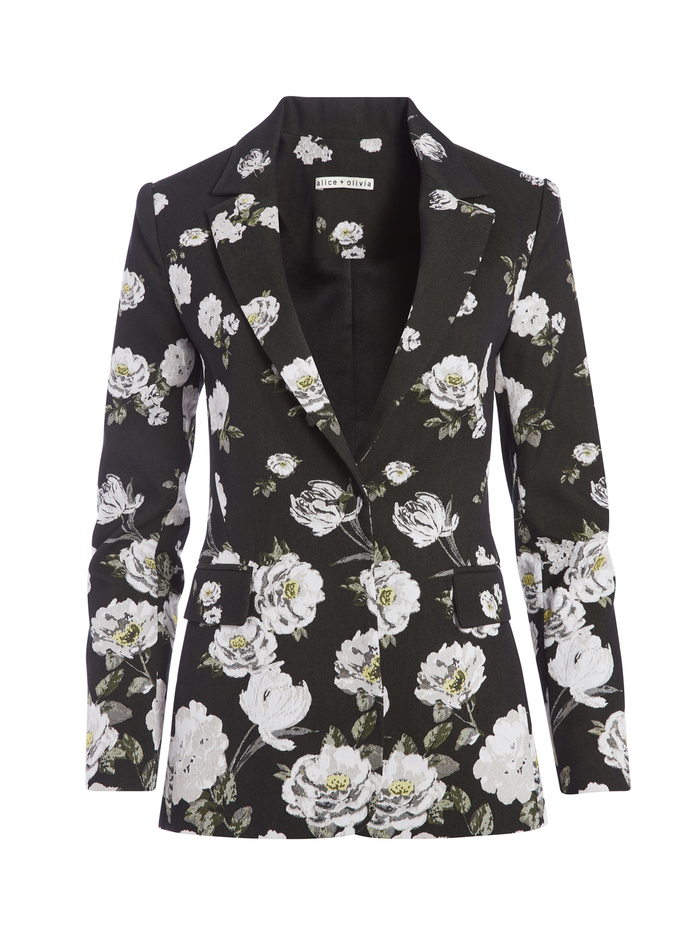 MACEY FLORAL PRINTED  BLAZER - SPRING SHOWER BLACK - Alice And Olivia