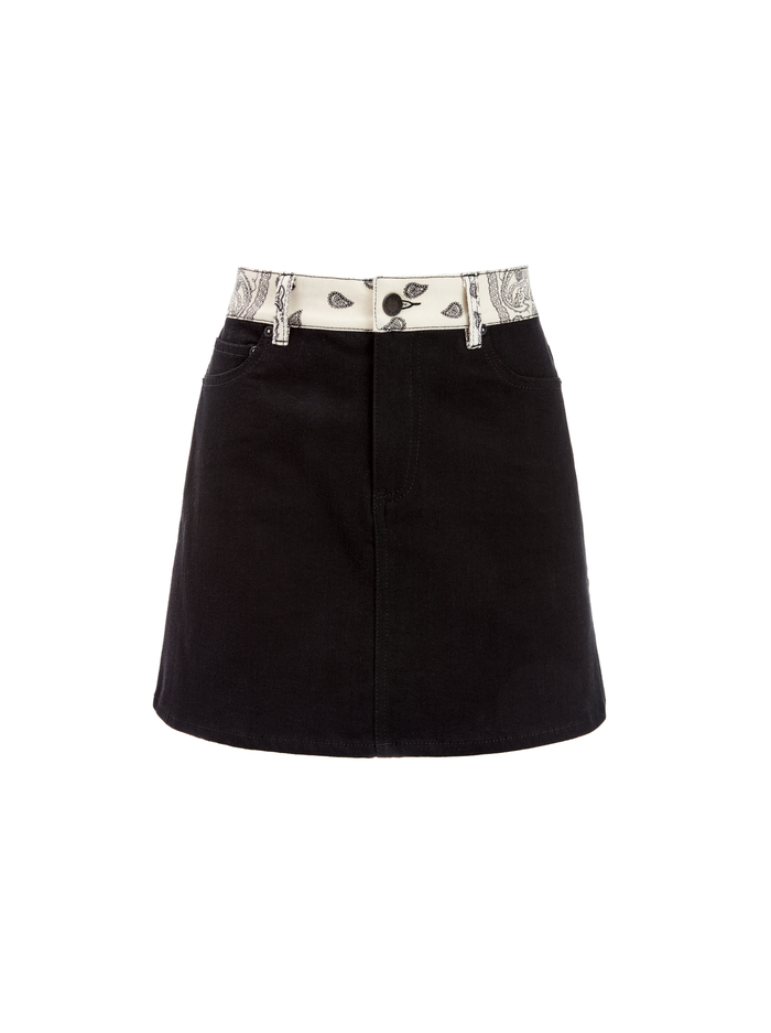 GOOD BANDANA PATCHWORK MINI SKIRT - GET DOWN/MULTI - Alice And Olivia