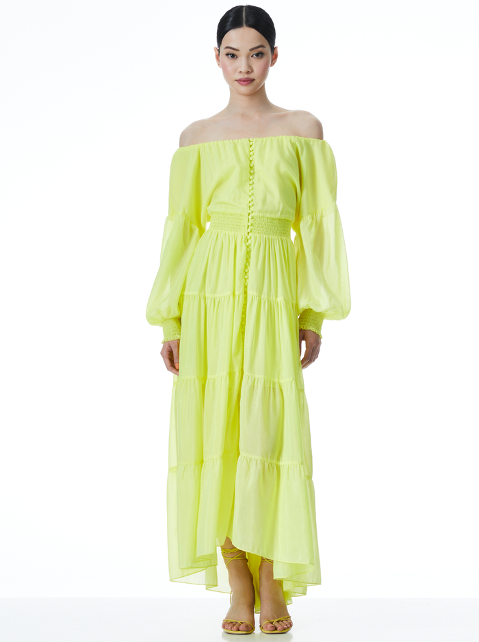 KIARA BUTTON FRONT HIGH LOW DRESS - NEON KEYLIME - Alice And Olivia