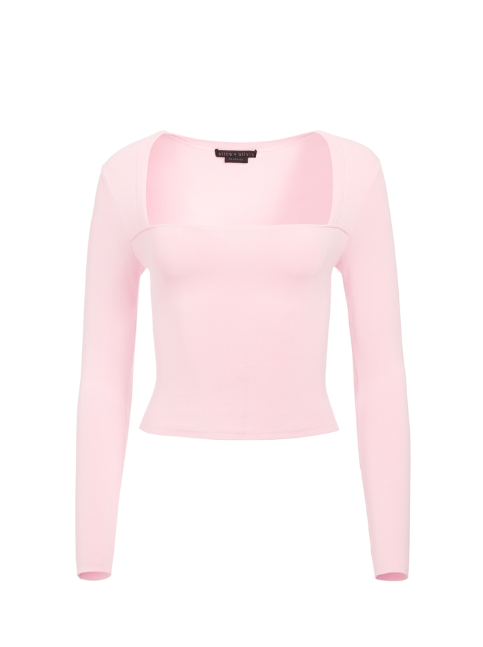 RICARDA CUT OUT CROP TOP - BLUSH - Alice And Olivia