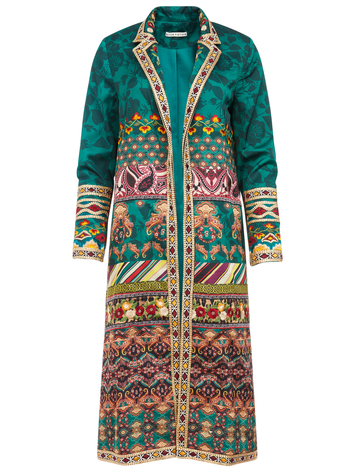LINDA EMBROIDERED NOTCH COLLAR COAT - THE MUSE MULTI - Alice And Olivia