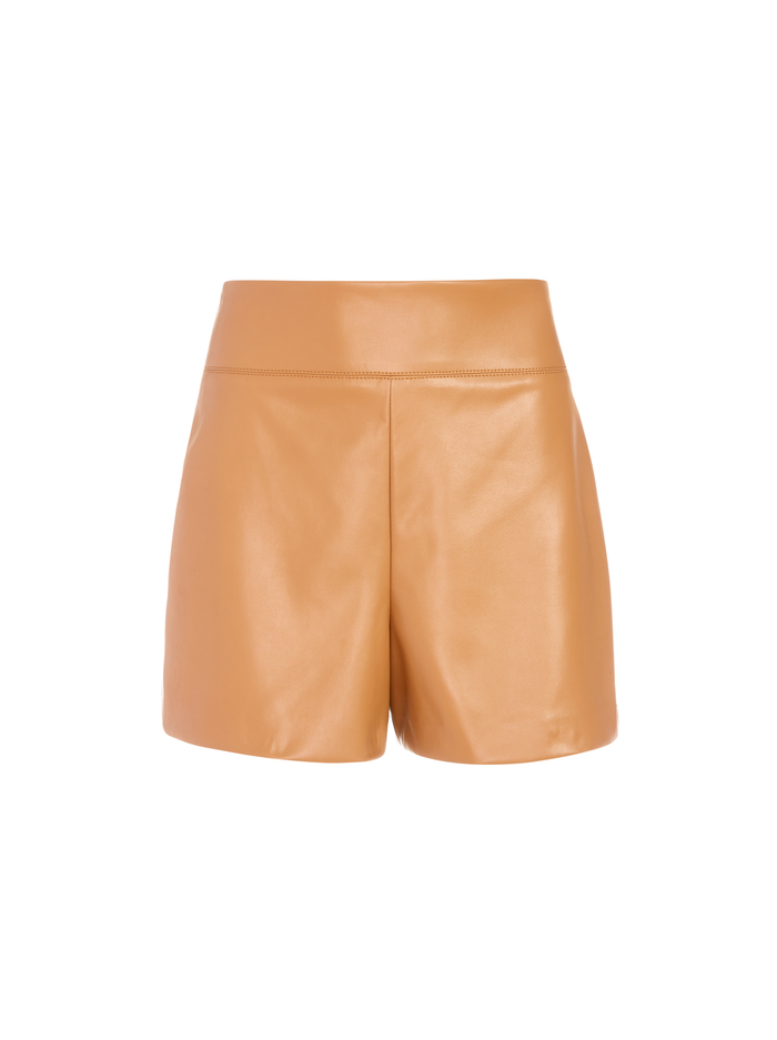 DONALD VEGAN LEATHER SHORT - CAMEL - Alice And Olivia