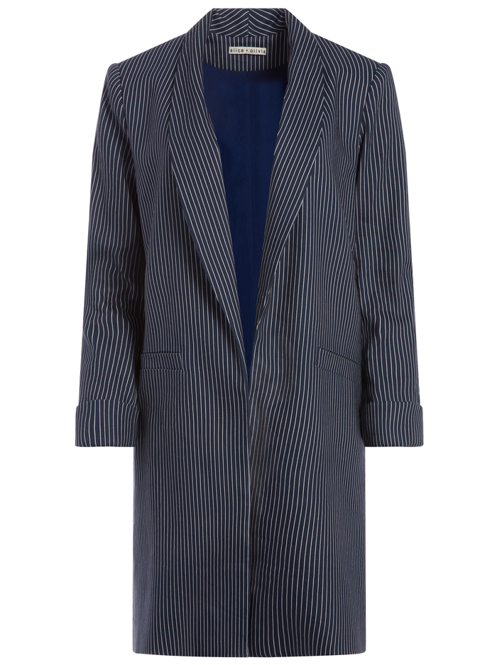 KYLIE EASY SHAWL COLLAR JACKET - LOVE ME STRIPE - Alice And Olivia