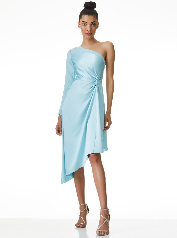 DORA ASYMMETRICAL OFF THE SHOULDER DRESS - POWDER BLUE - Alice And Olivia