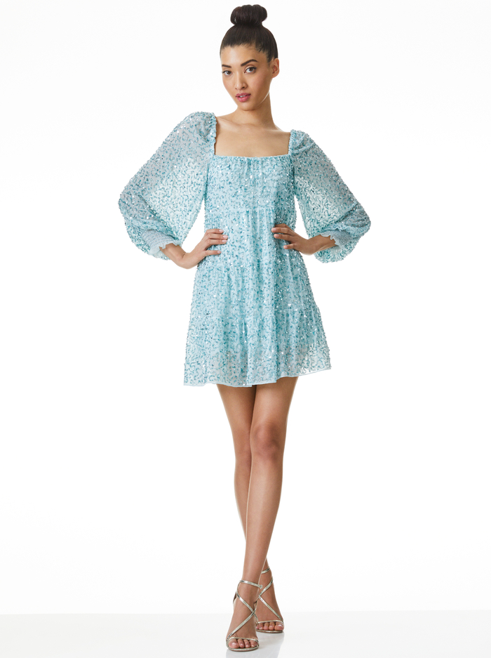 ROWEN SEQUIN EMBROIDERED MINI DRESS - POWDER BLUE - Alice And Olivia
