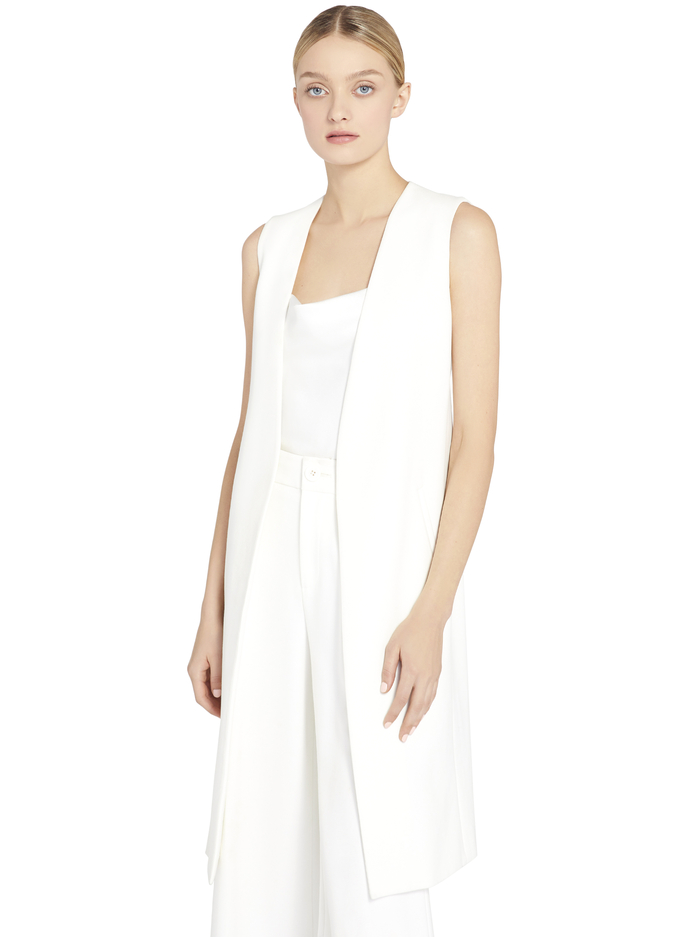 SUZETTE COLLARLESS LONG VEST - OFF WHITE - Alice And Olivia