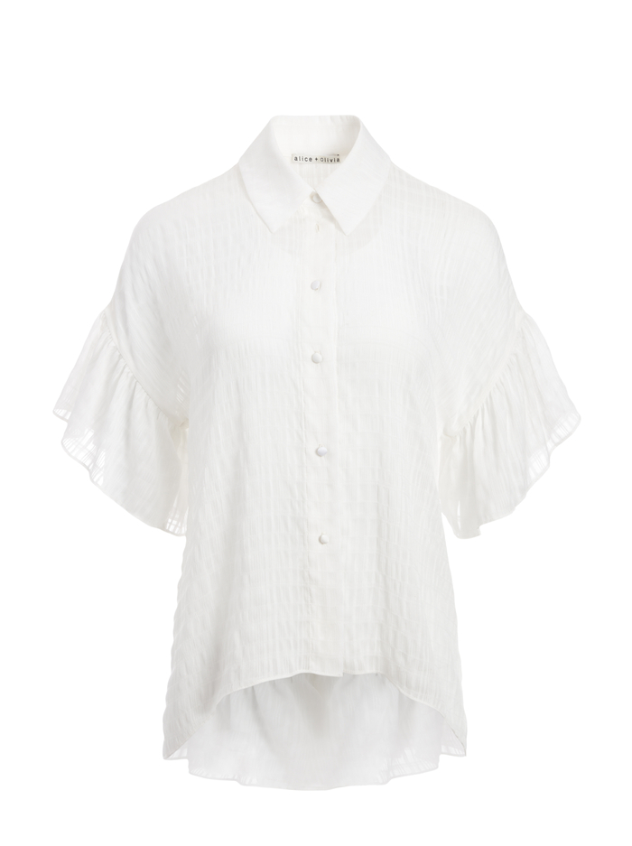 EDYTH RUFFLE SLEEVE BUTTON DOWN - OFF WHITE - Alice And Olivia