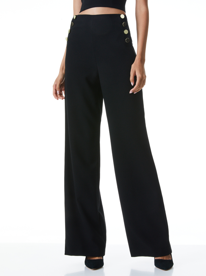 RAY BUTTON FRONT PANT - BLACK - Alice And Olivia