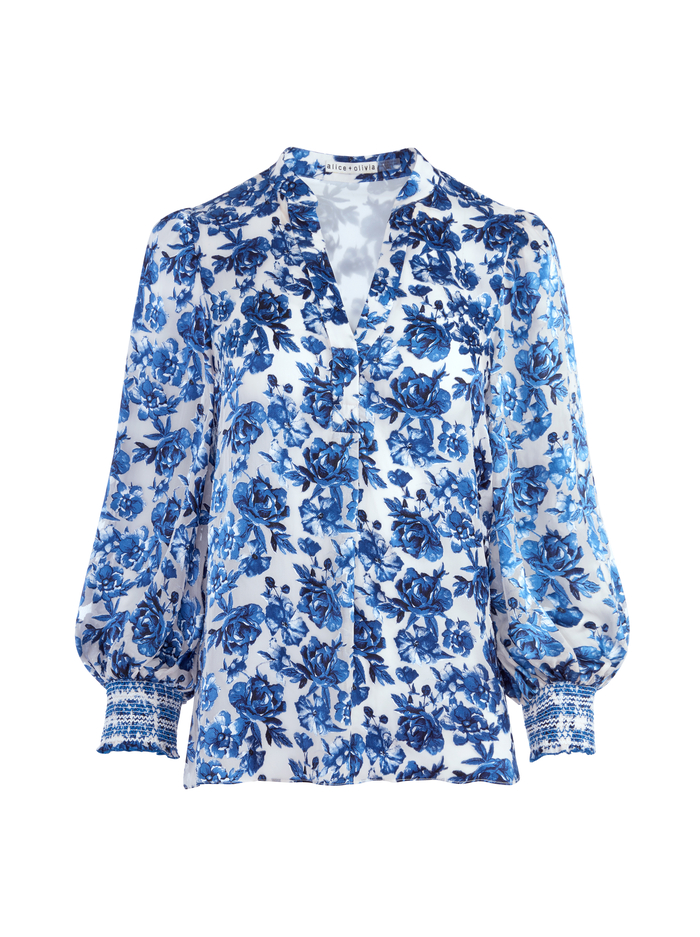 SHEILA FLORAL HENLEY TOP - FORGET ME NOT LG ANTIQUE WHITE - Alice And Olivia