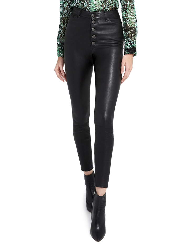 GOOD MIKAH LEATHER HIGH RISE PANT - BLACK - Alice And Olivia