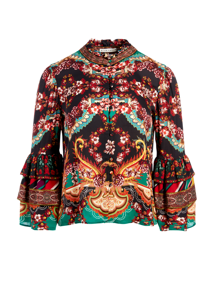 LIBERTY RUFFLE NECK BLOUSE - SPELLBOUND MULTI - Alice And Olivia