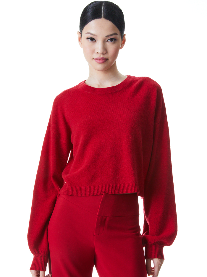 ANSLEY WIDE SLEEVE CROPPED SWEATER - DEEP RUBY - Alice And Olivia