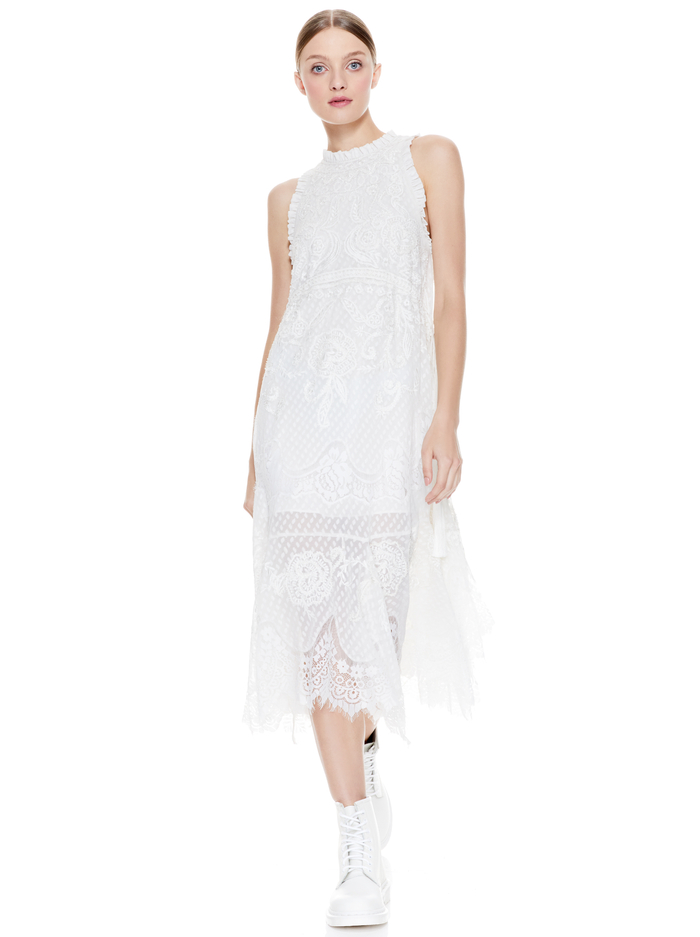 ANGELYN LACE DRAWSTRING WAIST MIDI DRESS - OFF WHITE - Alice And Olivia
