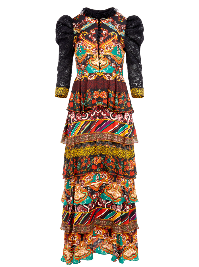 WILHEMINA TIERED MAXI DRESS - SPELLBOUND MULTI/BLACK - Alice And Olivia