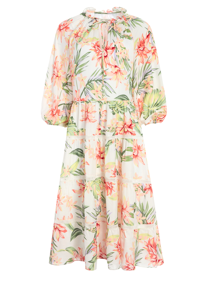 LAYLA FLORAL MIDI DRESS - HIBISCUS FLORAL - Alice And Olivia